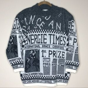 Vintage 80s Sweater Dance Contest Newsprint Kawaii